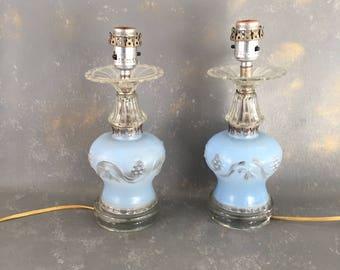 Vintage Blue Glass Lamp Set, pair, 1940s