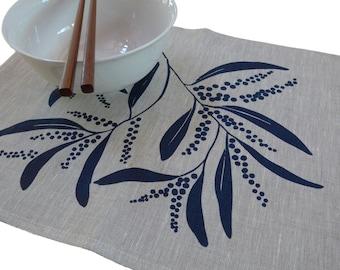 Linen Placemats Screen Printed Linen Place Mats Handprinted Linen Table Mats Navy&Natural Australian Wattle (set of 4)