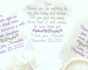 Embroidered Wedding Handkerchiefs Set of 3 wedding day gifts from the bride Embroidered Wedding Handkerchiefs Parents Wedding Gifts Designs