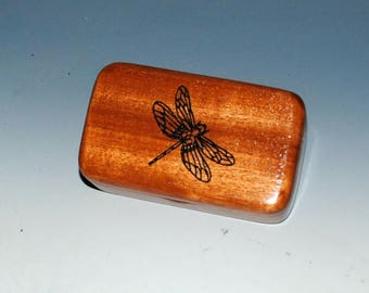 Laser Engraved Dragonfly on Mahogany Tiny Wood Treasure Box - Gift Box, Wood Jewelry Box, Wood Keepsake Box by BurlWoodBox - Small Wood Box