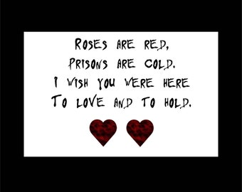 Valentines Card, Prison Valentine, I Love You Card, Jail Card, Incarceration Card, Prison Humor Card, Convict Card, Card For Inmate, Funny