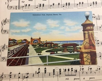 Vintage Florida Postcard Linen Unused Oceanfront Park Daytona Beach 1940s Collector Ephemera Paper