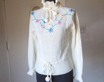 Vintage White Sweater, Embroidered Knit Pullover, Girlie Ruffled Turtleneck, Long Sleeve, XS to Small, Vegan, Vegan Friendly