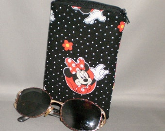 Minnie Mouse Eyeglass or Sunglasses Case - Padded Zippered Pouch