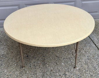 Vintage Round Kids Wood Formica Table - 4 ft