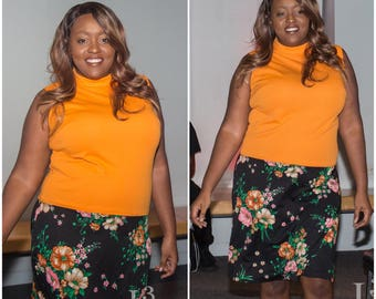 Plus Size Orange and Floral Dress // Orange and Black Dress // Mod Plus Size
