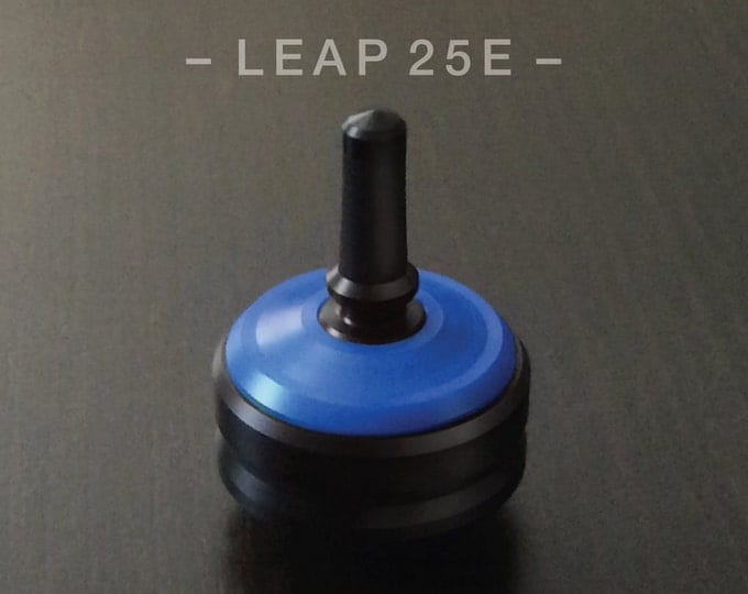 "LEAP 25E Blue – Precision spin top with ceramic tip and rubber grip for improved control – 1"" desk and pocket top"