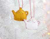 Teacher Gift, Teapot Ornament, Handmade Christmas Ornament, Holiday Decoration, Christmas Decor, Hand-stitched, hostess gift, ready to ship