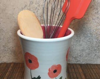 Reserved for Maggie:  Handmade Utensil Holder - Utensil Keeper - Utensil Pot - Rustic Stoneware Utensil Holder - Rustic Utensil Keeper