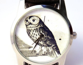 ON SALE 30% OFF Owl Watch, Vintage Style Leather Watch, Women Watches, Boyfriend Watch, World Map, Men's Watch , Brown,