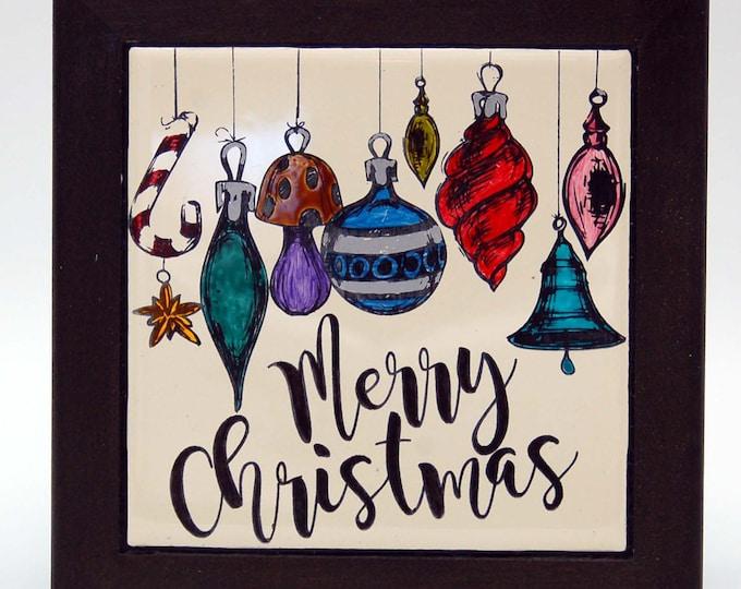 Merry Christmas, Christmas Ornament, Christmas Trivet, Holiday decor, Housewarming gift,Kitchen Christmas Decor,christmas gift,hostess gift