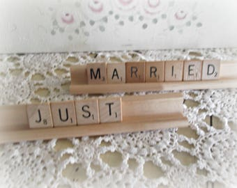 Just Married Cake Topper Rustic Wedding Decor Scrabble Sign Wedding Reception Decor