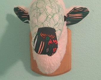 Custom-Made, Wall-Mounted Stuffed Sheep Head, Faux Taxidermy