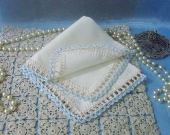 Blue Handkerchief, Hanky, Hankie, Something blue, Bridal, Hand Crochet, lace, Monogrammed, Personalized, Embroidered, Custom, Ready to ship