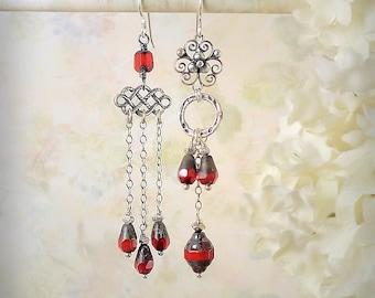 Red Mismatch Earrings Cherry Red Asymmetric Earrings Red Chandelier Earrings Pompeii Red Wedding Red Teardrop Earrings Roman Glass Style