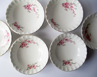 Vintage Cereal Soup Bowls WS George Peach Blossom Bolero Set of Six