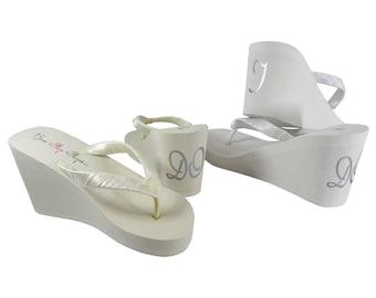 Design your own Cute I DO Wedding Flip Flops, Bridal Ivory or White