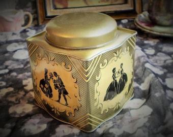 Vintage Black Gold Silhouette Tin, Riley's Toffee Tin, Vinage English Tin, Vintage Silhouette Tin Vintage Riley Tin,  Vintage Toffee Tin