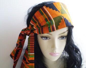 Small Orange African Head Scarf, African Kente Head Scarf, Orange Green Black Head Scarf, African Fabric Head Scarf, Small African Head Wrap