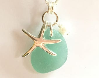 SS Starfish Teal Seaglass pendant Sterling beach Glass necklace Beach Glass Jewelry