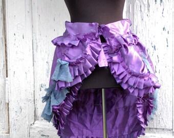 bustle skirt,victorian, skirt, goth, corpse bride,vampire romance, halloween wedding, alternative wedding,women skirt,tattered,ruffle,lilac