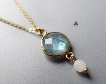 Necklace Labradorite Bezel - gold plated 925 sterling silver