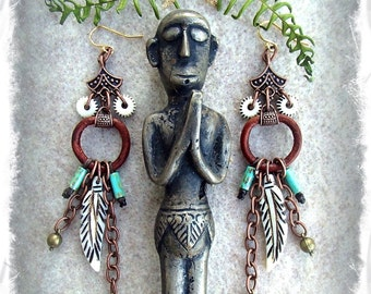 GAIA Feather earrings Tribal jewelry Boho Chic Gypsy Native jewelry Long Dangle earrings Earthy earrings  Wanderlust festival GPyoga