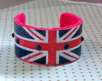 Leather cuff bracelet, British English gift, Union Jack flag bracelet, British cuff bracelet, British invasion Brit gift for her, anglophile
