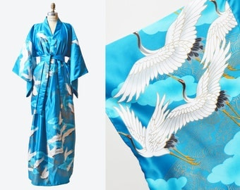 Vintage 60s 70s Boho KIMONO / Crane Print Pointed Sleeve Maxi Dress Duster Long Coat Robe Jacket