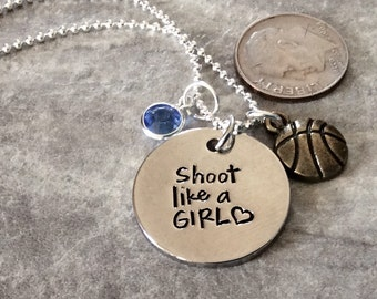 "Silver plated ""Shoot Like a Girl"" necklace, basketball pendant or charm, personalized with birthstone sport necklace,  basketball"