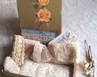 Antique Laces Wax Flowers & Vintage Box / Bobbin, Needlepoint Fillet laces / 9pc / Dolls Bears Period Costume Vintage Wedding Something Old