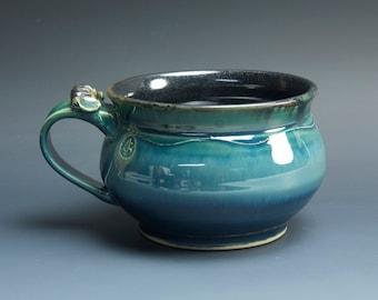 Handmade pottery soup mug ceramic chili mug glossy blue cereal bowl 24 oz  3561