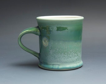 Sale - Pottery coffee mug, ceramic mug, stoneware tea cup jade green 12 oz 3839