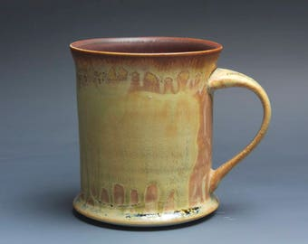 Handmade pottery coffee mug tea cup 16 oz yellow amber tea cup 3942