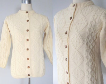 Vintage Creme Cable Knit Fisherman's Sweater / 70's Irish Wool Button Up Winter Cardigan Sweater / Size Small