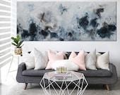 large print seascape painting blue black abstract painting horizontal large art ElenasArtStudio.