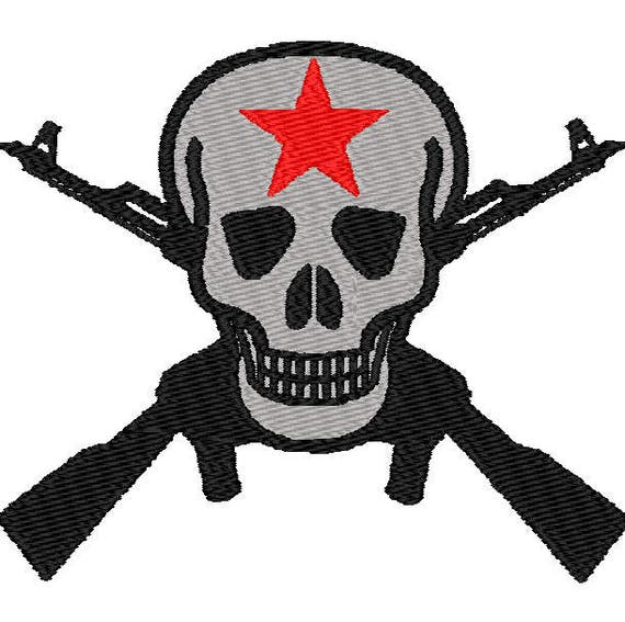 Skull with crossed guns digital embroidery design