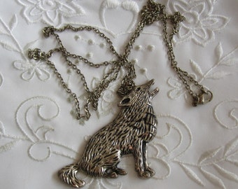 Vintage Pewter Coyote Pendant with Link Chain Necklace