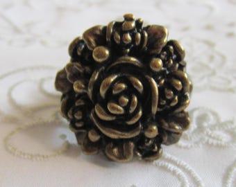 Vintage Dark Brass Large Detailed Flowered Ring