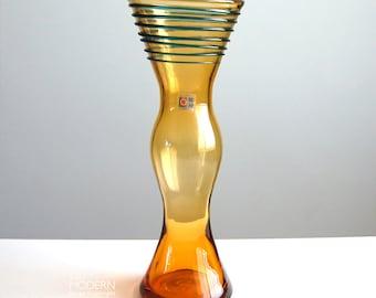 Blenko Glass 9727S Topaz Vase With Blue Spiral Threading