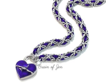 BDSM Slave Collar Silver & Violet Purple with Heart and Barbed Wire Lock Submissive Collar