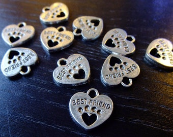 Destash (10) Best Friend Heart Charms - dog paw print, words, silver plate for pendants, jewelry making, crafts, scrapbooking