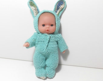 Bunny Doll, Easter Decoration, Crocheted Bunny Outfit, 5 Inch Rabbit Doll, Berenguer Doll, Turquoise Bunny Doll