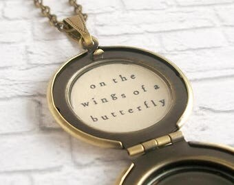 Butterfly Locket Necklace Inspirational Quote Remembrance Jewelry Memorial Pendant On the Wings of a Butterfly