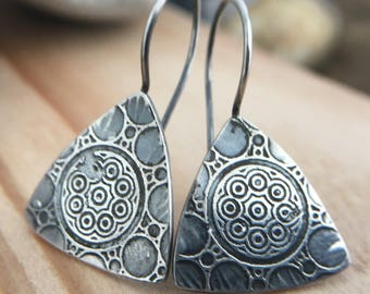 Rough Organic Sacred Geometry Circle Etched triangle Drop contrast texture Earrings