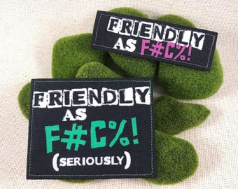 Friendly as F Harness Patches Hook and Loop Custom-made Personalized Funny Collar Backpacks Velcro