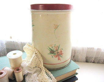 Vintage Tin Canister Metal Canister Red Kitchen Canister Craft Storage Supplies 1940s 1950s AllieEtCie