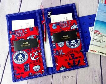 Family Passport travel wallet, gift for sailor, family passport holder, sailor moon travel passport wallet,naval family  passport case,