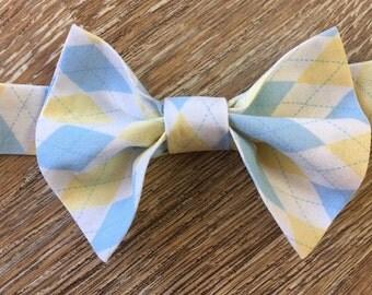 Boys Argyle Bow Tie, Boys Blue and Yellow Argyle Bow Tie, Baby Photo Prop, Cake Smash Photo Prop, Ring Bearer