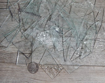 Mixed Clear Textured Stained Glass Scraps Mosaic Craft Supplies 16 oz